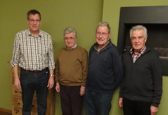 Ehrungen beim OV Balzers, v.l.: David Frick 25 Jahre, Ehrenmitglied, Fidel Foser und Franz Wolfinger (50 Jahre) und Hansruedi Gmür (40 Jahre)