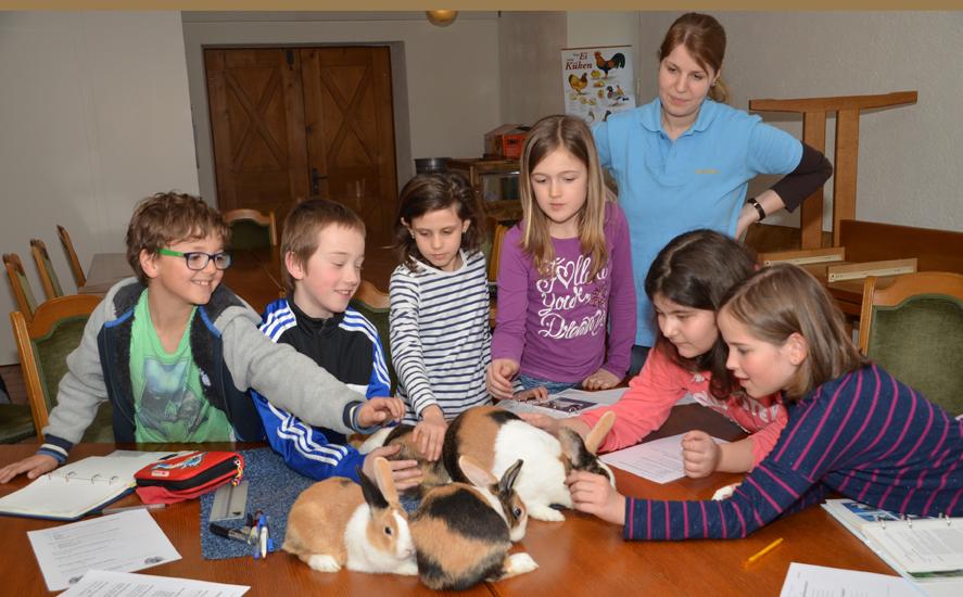 v.l.Julian, Jakob, Jenin, Laura, Gizem und Mara begeisterten sich für die Kaninchen, die ihnen Marion Vogt-Wolfinger näher brachte